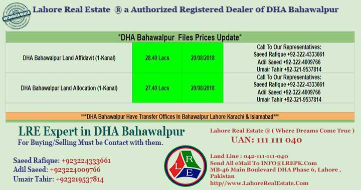 DHA Bahawalpur Files for Sale by Lahore Real Estate 20 August 2018