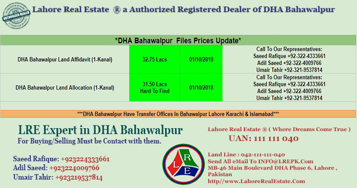 DHA Bahawalpur Files Prices Update 01 October 2018