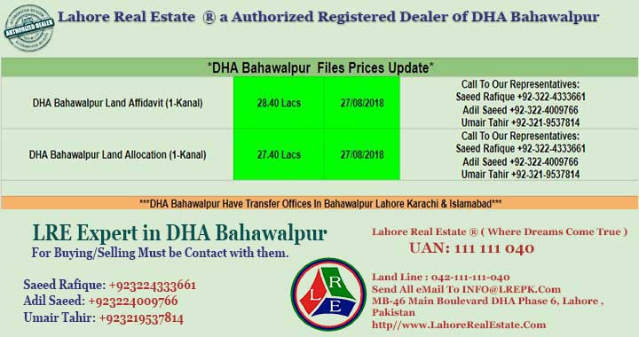 DHA Bahawalpur Files Prices Update August 27, 2018